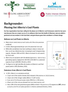 Backgrounder: Phasing Out Alberta's Coal Plants