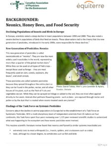 Neonics, Honey Bees, and Food Security