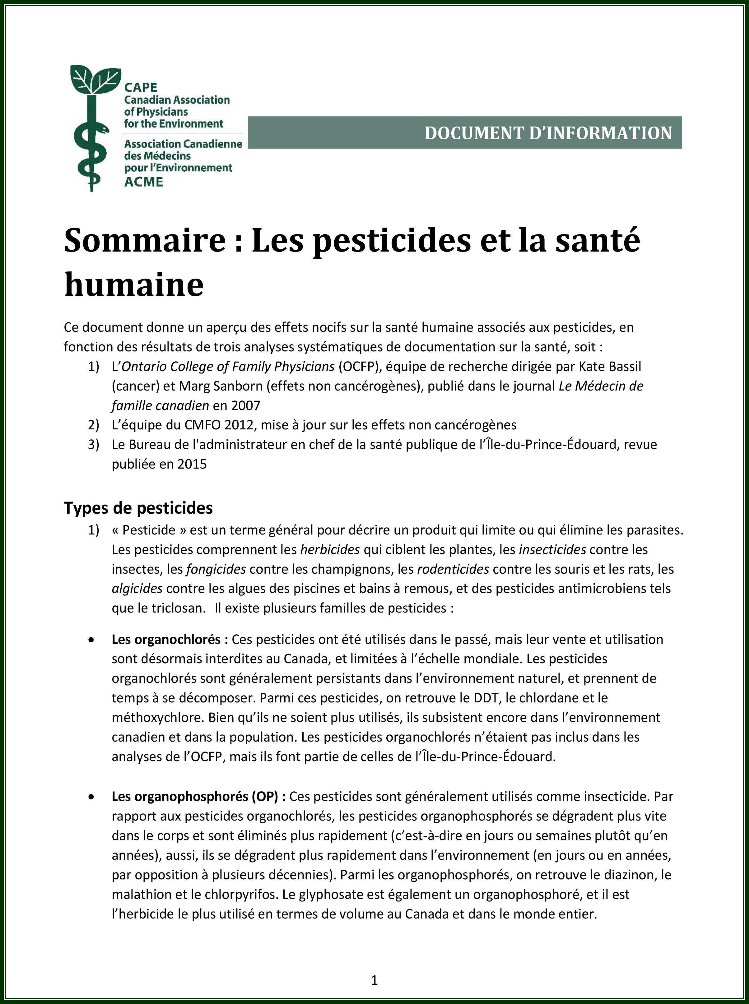 Document d'information - Les Pesticides et la sante