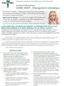 Feuillet d'informations – Code Vert - Changement climatique