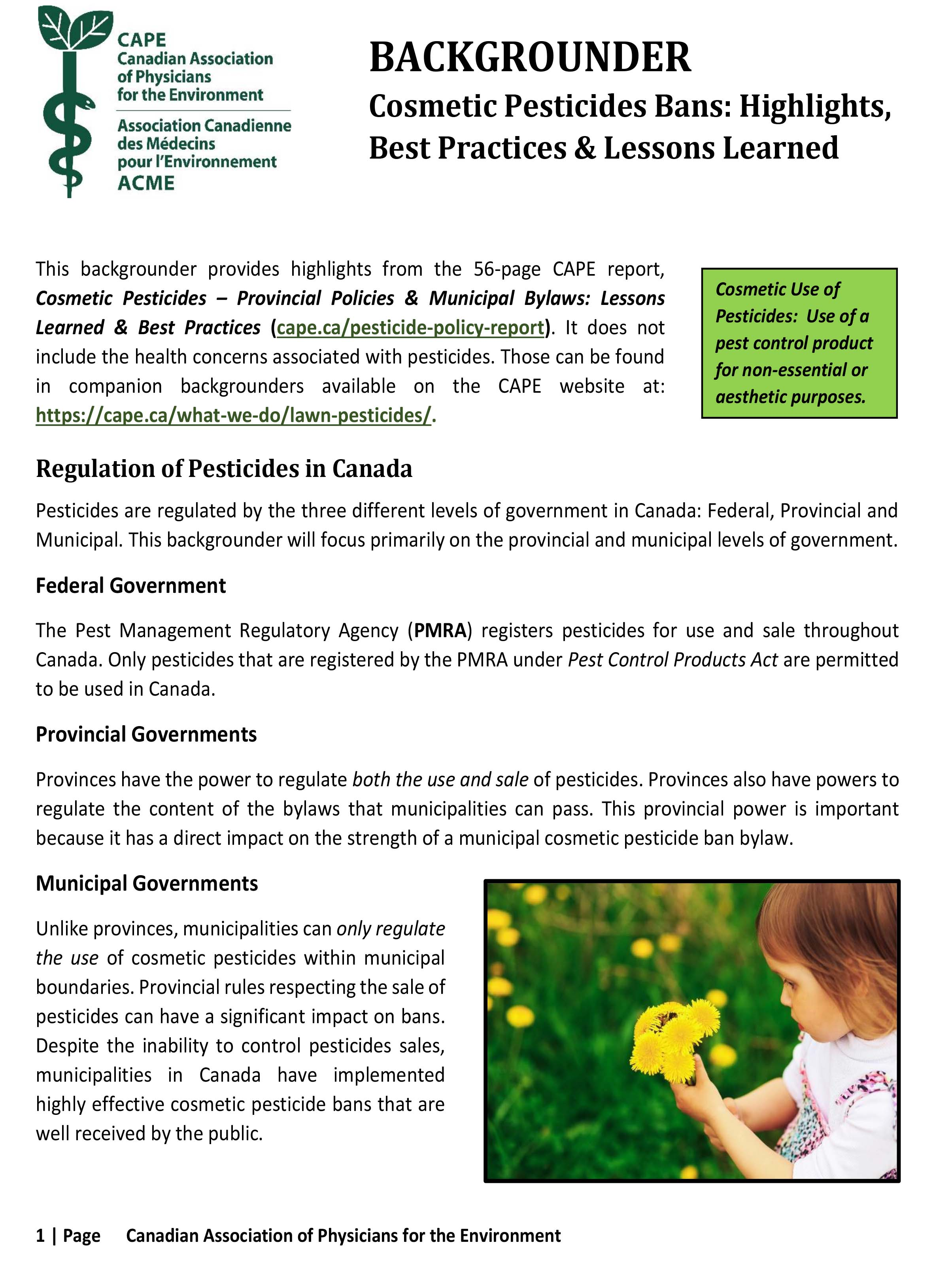 Cosmetic Pesticide Bans - Highlights, Best Practices & Lessons Learned