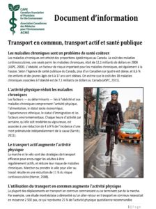 Document d'information -Transport en commun, transport actif et santé publique