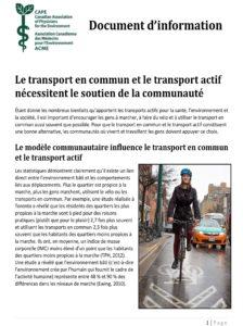 Document d'information -Le transport en commun et le transport actif nécessitent le soutien de la communauté