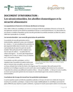 Document d'information - les néonicotinoïdes, les abeilles domestiques et la sécurité alimentaire