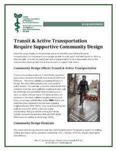 Transit and Active Transportation Require Supportive Community Design Canadian Physicians for the Environment