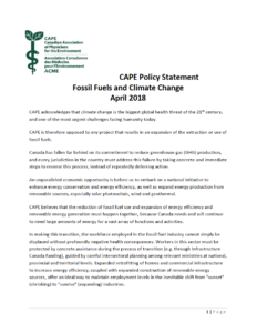 CAPE Policy Statement Fossil Fuels and Climate Change