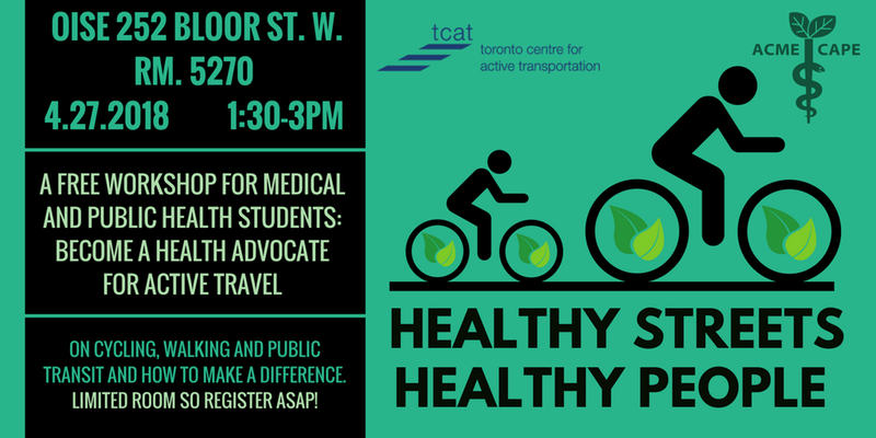 Healthy Streets Healthy People - Cycling, Walking and Public Transit - Healthy Communities - CAPE and TCAT